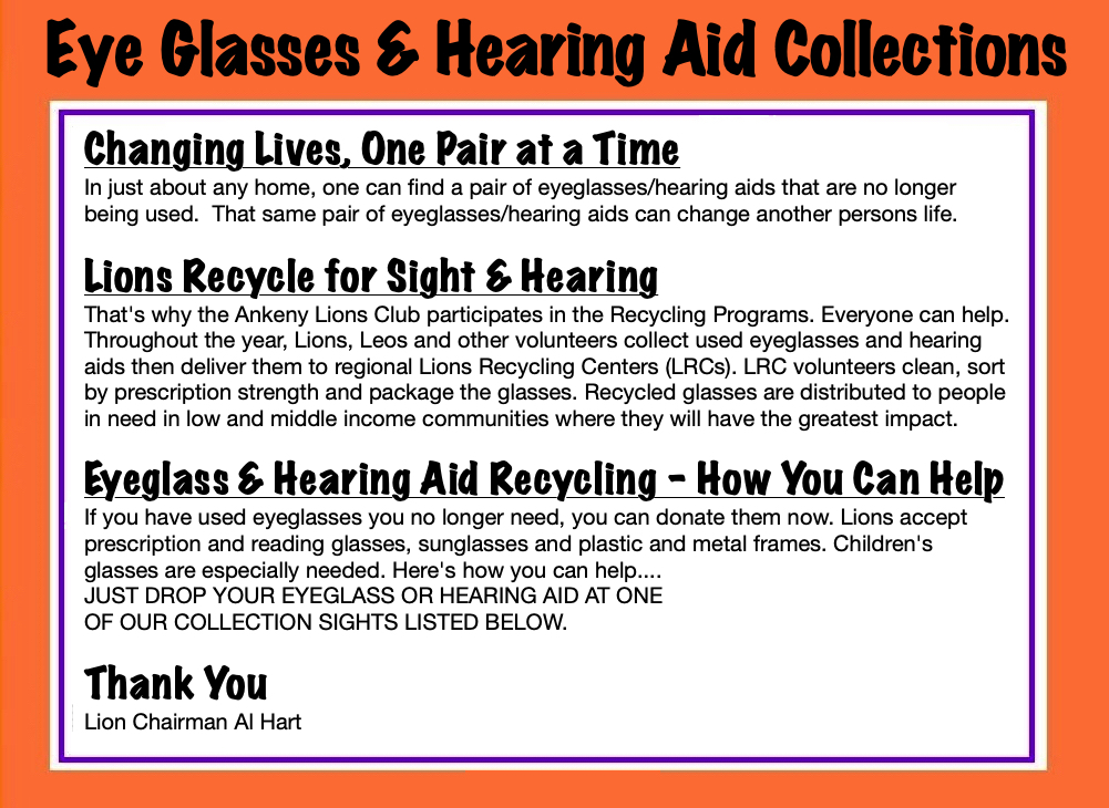 Eye Glasses & Hearing Aid Collections Program