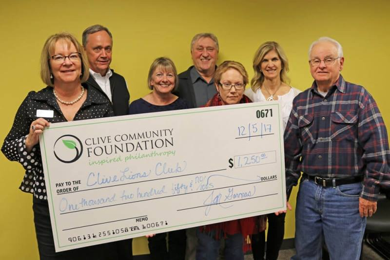 Grant money being received from Clive Community Foundation
