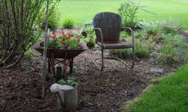 Gwen Has Created a Vignette of a Calm Spot to Rest while Gardening